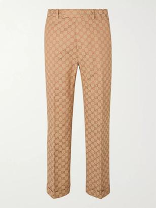 Gucci Slim-Fit Logo-Jacquard Cotton-Blend Suit Trousers