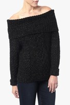 7 For All Mankind Off The Shoulder Cable Knit Sweater In Black And Beige
