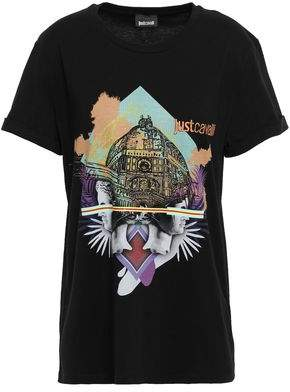 Just Cavalli Embroidered Printed Cotton-jersey T-shirt