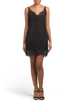 Juniors Satin Slip Dress With Lace Trim