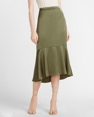 Express High Waisted Satin Drape Front Midi Skirt