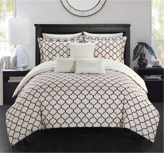 Chic Home Plymouth Pinch Pleated Ruffled & Reversible Geometric Printed Comforter Set