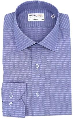 Lorenzo Uomo Textured Geo Print Trim Fit Stretch Dress Shirt