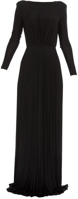 Elisabetta Franchi Pleated Open-Back Gown Dress
