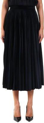 Valentino Pleated Jersey Velvet Skirt