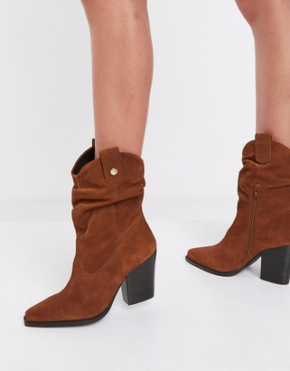 Steve Madden Yonne slouch calf boot in brown suede
