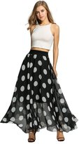 Fashine Woen Floral Dot Printaxi Chiffon Floor-length Beach A-Line Skirt