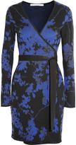 Diane von Furstenberg Jacquard-knit wool wrap mini dress