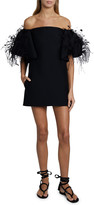 Valentino Off-the-Shoulder Feather-Trim Mini Dress