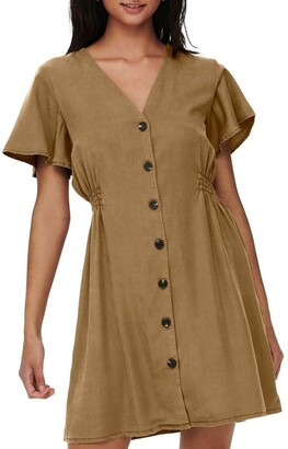 Only Magne Life Short Sleeve Button Dress