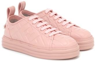 Fendi FF embossed leather sneakers