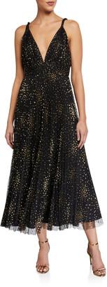 Jill Stuart Sleeveless Glitter Tulle Pleated Midi Dress