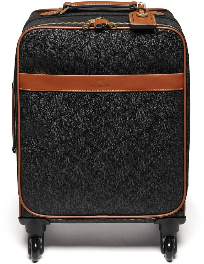 Mulberry Four Wheel Trolley Black and Cognac Scotchgrain