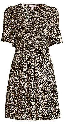 Rebecca Taylor Women's Louisa Floral Smocked Bodice A-Line Dress