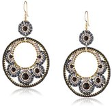 Miguel Ases Onyx and Hematite Victorian Cut-Out Drop Earrings