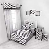 Bacati Dots/Pinstripes Black/White 4 Piece Toddler Bedding Set
