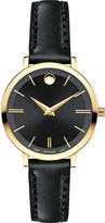 Movado 0607095 Ultra Slim yellow-gold PVD stainless steel and leather watch