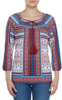 Allison Daley Tassel Tie-Neck 3/4 Sleeve Paisley Border Print Top