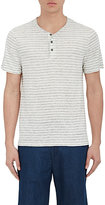 Vince Men's Striped Linen Short-Sleeve Henley-WHITE