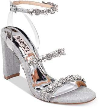 Badgley Mischka Women's Adel Crystal-Embellished Block Heel Sandals
