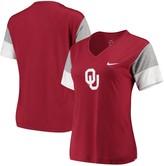 Nike Women's Crimson/White Oklahoma Sooners Breathe Team Sleeve Performance V-Neck T-Shirt