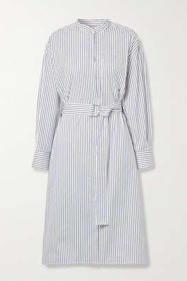 Jason Wu Belted Striped Cotton-poplin Shirt Dress
