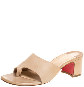 Christian Louboutin Beige Leather Block Heel Slide Sandals Size 38