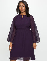 ELOQUII Plus Size Textured Fit and Flare Dress with Flared Sleeves