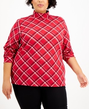 Karen Scott Plus Size Plaid Mock-Neck Top, Created for Macy's