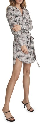 Reiss Alice Abstract Print Long Sleeve Dress