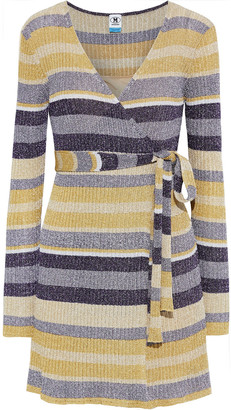 M Missoni Metallic Striped Ribbed-knit Mini Wrap Dress