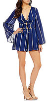 GB Tie Front Striped Bell-Sleeve Romper