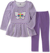 Kids Headquarters 2-Pc. Long-Sleeve Butterfly Tunic and Leggings Set, Little Girls (4-6X)