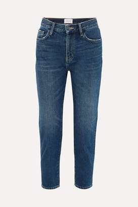 Current/Elliott The Vintage Cropped Distressed High-rise Slim-leg Jeans - Indigo