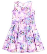 Halabaloo Girl's Floral Print Pleated Dress