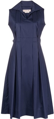 Marni Pleated-Detailing Sleeveless Shirtdress