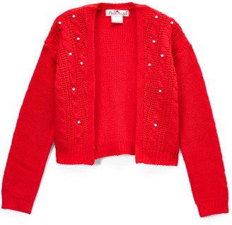 Pink Angel Girls' Shrugs Red - Red Bead-Accent Shrug - Toddler & Girls