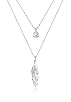 Elli Necklace Women Feather Boho Festival Layering Swarovski Crystals 925 Sterling Silver