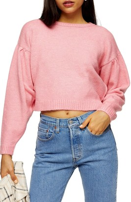 Topshop Pleat Shoulder Crop Sweater