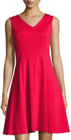 Karl Lagerfeld Paneled Fit-and-Flare Dress, Rouge