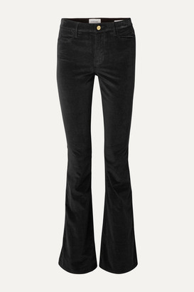 Frame Le High Flare Velvet Pants - Black