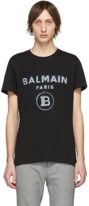 Balmain Black Tagged Logo T-Shirt