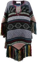 Chloé embroidered knitted poncho - women - Acrylic/Polyamide/Cashmere/Wool - 38