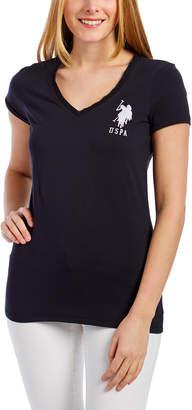 U.S. Polo Assn. Women's Tee Shirts BKWH - Black V-Neck Tee - Women