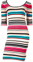 Betsey Johnson Striped 3/4 Sleeve Fitted Dress