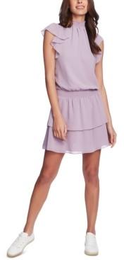1 STATE 1.state Smocked-Neck Flutter-Sleeve Dress