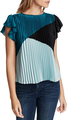 1 STATE Colorblock Pleated Blouse