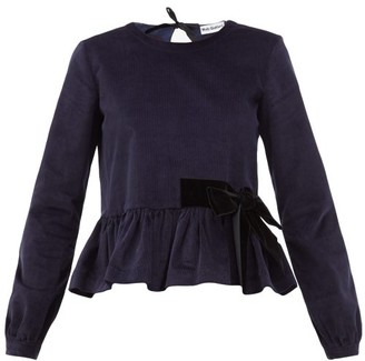 Molly Goddard Willow Stretch-cotton Corduroy Peplum Top - Navy