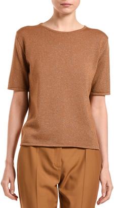 Agnona Cashmere Shimmered Short-Sleeve Sweater