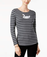 Charter Club Cotton Beaded Swan Top, Created for Macy's